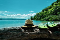 Items for recreation, travel, against the backdrop of the sea. Close-up stock photo