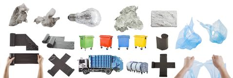 Items for recycle bin set with garbage. Isolated on white Royalty Free Stock Images