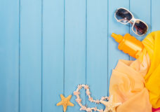 Items for relaxing on beach Stock Photography
