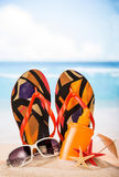 Items for relaxing on beach Royalty Free Stock Photo