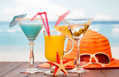 Items for relaxing on beach Royalty Free Stock Photography