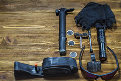 Items replacements and tools for a safe cycling Royalty Free Stock Image