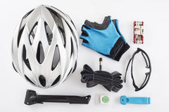 Items replacements and tools for a safe cycling Royalty Free Stock Photos