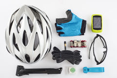 Items replacements and tools for a safe cycling Stock Image