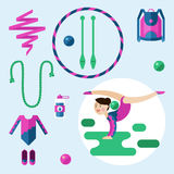 Items for rhythmic gymnastics. Royalty Free Stock Image