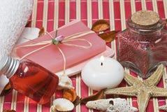 Items rojos del balneario. Imágenes de archivo libres de regalías