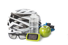 Items for a safe cycling and a healthy diet Stock Photos