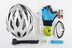 Items for a safe cycling and a healthy diet Stock Image
