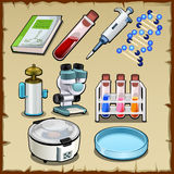 Items from the science lab, tube, device and other Stock Photography