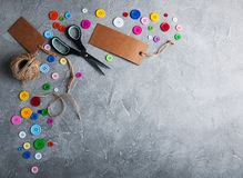 Items for sewing. On a gray stone background royalty free stock image