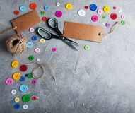 Items for sewing. On a gray stone background royalty free stock images