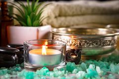 Spa massage items. Items for spa massage in the composition on the table stock image