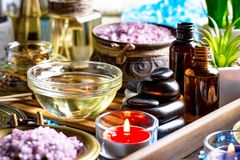 Spa massage items. Items for spa massage in the composition on the table royalty free stock images