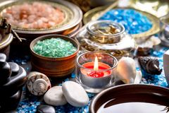 Spa massage items. Items for spa massage in the composition on the table stock photography