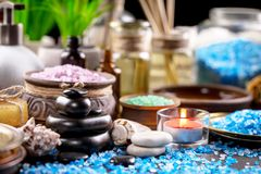 Spa massage items. Items for spa massage in the composition on the table stock images