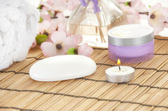 Items in spa for relaxing. Spa setting with items to relax Royalty Free Stock Images