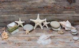 Items for spa. Sea salt Royalty Free Stock Photos