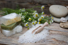 Items for spa. Sea salt Stock Photos