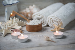 Items for spa. Towels and candles Royalty Free Stock Photo