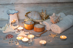 Items for spa. Towels and candles Stock Photo