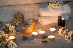 Items for spa. Towels and candles Royalty Free Stock Photography