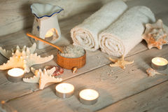Items for spa, towels Stock Photos