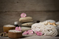 Items for spa, towels Royalty Free Stock Image