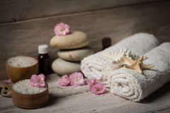 Items for spa, towels Royalty Free Stock Photos