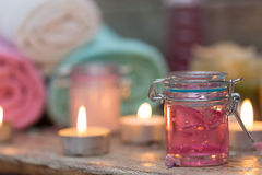 Items for spa. Towels and candles Royalty Free Stock Photos