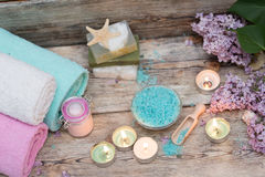 Items for spa. Towels and candles Stock Image
