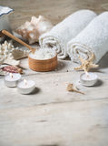 Items for spa. Towels and salt Royalty Free Stock Photos