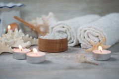 Items for spa. Towels and salt Stock Photo