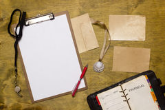 Items for the sports coach Stock Photography
