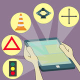 Items of traffic in tablet Royalty Free Stock Images