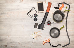 Items for travel. Set of travel accessories on wooden background. Top view royalty free stock images