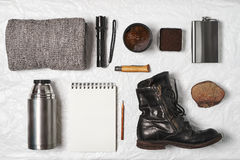 Items for travel. Top view Royalty Free Stock Photo