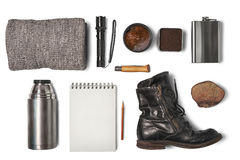 Items for travel. Top view royalty free stock photos