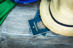 Items for traveling, Brazilian content Royalty Free Stock Photos