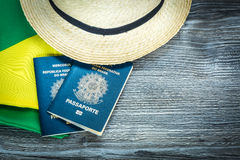 Items for traveling, Brazilian content Royalty Free Stock Photo