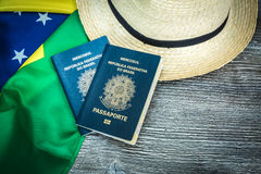 Items for traveling, Brazilian content Stock Image