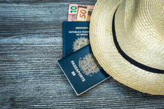 Items for traveling, Brazilian content Stock Photo