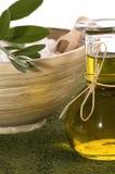 Items verdes olivas del baño Imagen de archivo libre de regalías