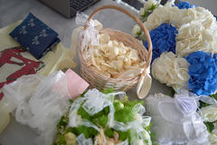 Items for wedding ceremony. SANTORINI, GREECE - AUGUST 05, 2015: items for wedding ceremony stock image