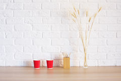 Items on wooden desktop Royalty Free Stock Image