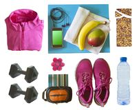 Items for workout or exercise. On white background royalty free stock images