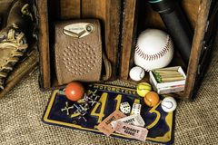 Items in Young Boys Treasure Chest royalty free stock image