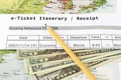 itenerary E bilet Obrazy Stock