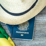 Itens for traveling, Brazilian content Royalty Free Stock Image