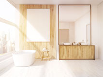 Iterior of sunlit bathroom with mirror Stock Images