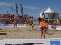 ITF Beach Tennis World Championship 2016 – Ladies Double Final. Images of Beach Tennis World Championship by ITF and FIT that took place on 1-7 August 2016 Royalty Free Stock Photography